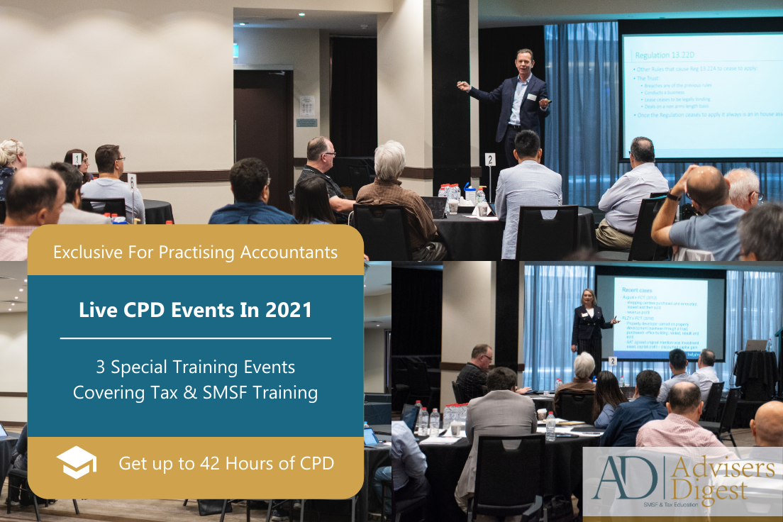 Live CPD Training in 2021, Tax & SMSFs